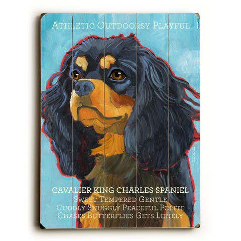 Cavalier King - Planked Wood Wall Decor by Ursula Dodge