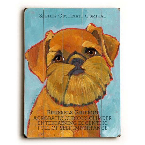 Brussels Griffon - Planked Wood Wall Decor by Ursula Dodge
