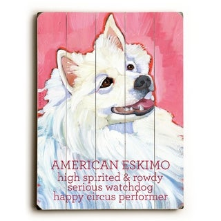 American Eskimo -   Planked Wood Wall Decor by Ursula Dodge