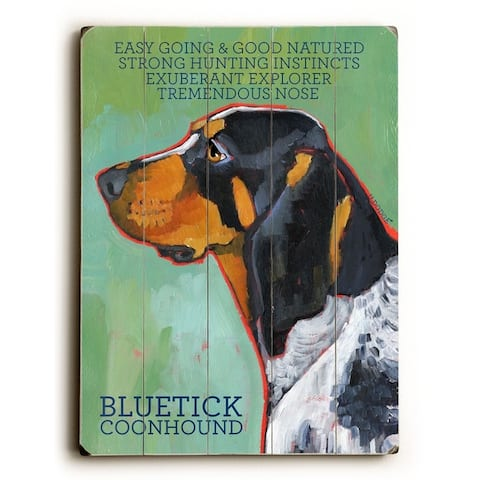Bluetick Coon Hound - Planked Wood Wall Decor by Ursula Dodge