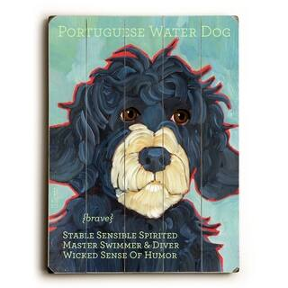 Portuguese Water Dog - Planked Wood Wall Decor by Ursula Dodge