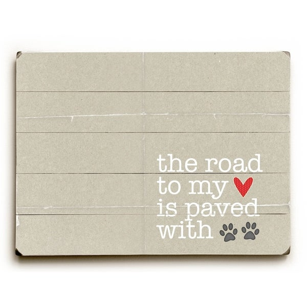 The road to my heart - Planked Wood Wall Decor by Cheryl Overton