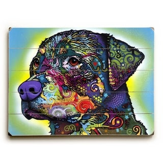 The Rottweiler -  Planked Wood Wall Decor by  Dean Russo