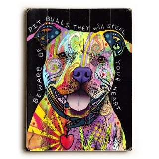 Beware of Pit Bulls -  Planked Wood Wall Decor by  Dean Russo