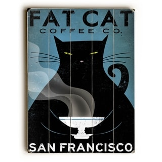 Cat Coffee -  Planked Wood Wall Decor by Ryan Fowler