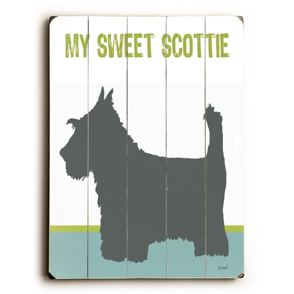 Sweet Scottie - Planked Wood Wall Decor by Lisa Weedn