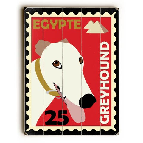Greyhound Postage Stamp - Planked Wood Wall Decor by Ginger Oliphant