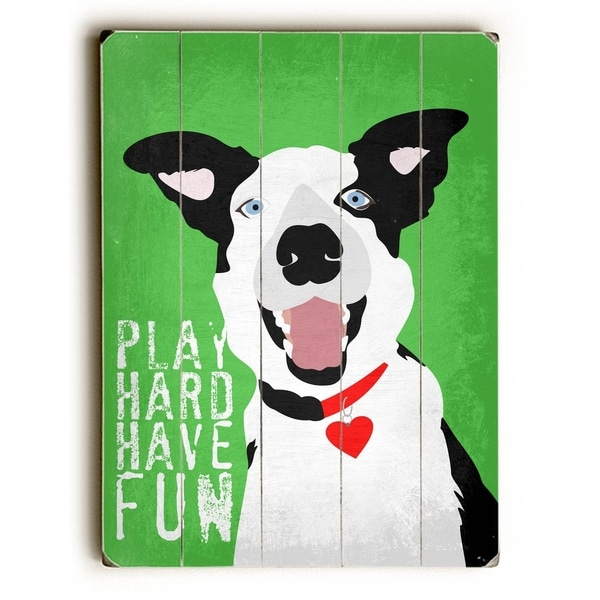 Border Collie Play - Planked Wood Wall Decor by Ginger Oliphant