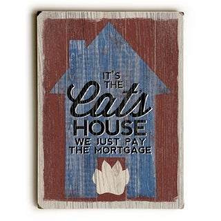 The Cat's House -  Planked Wood Wall Decor by  Misty Diller