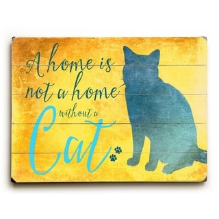 Without a Cat -   Planked Wood Wall Decor by Mainline Art