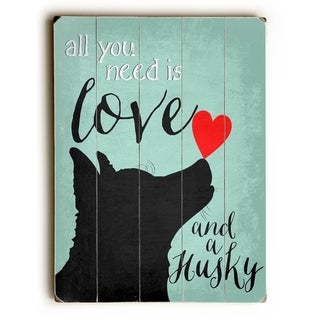 Love and a Huskey -  Planked Wood Wall Decor by  Ginger Oliphant