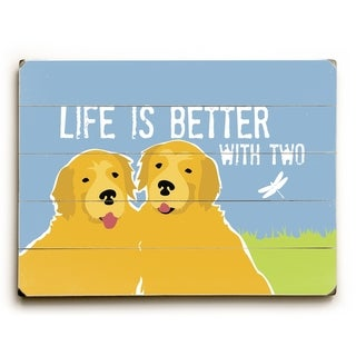 Golden Retriever Life is Better with Two - Multi  Planked Wood Wall Decor by Ginger Oliphant