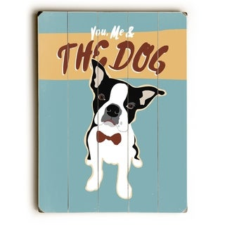 Boston Terrier You Me - Blue  Planked Wood Wall Decor by Ginger Oliphant
