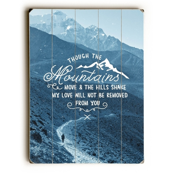 Though the Mountains - Planked Wood Wall Decor by Pocket Fuel