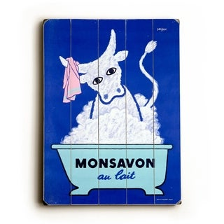 Monsavon au lait Poster -   Planked Wood Wall Decor by Raymond Savignac
