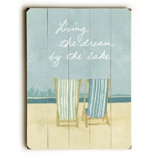 Living the dream by the lake -   Planked Wood Wall Decor by FLAVIA