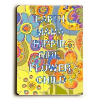 Earth Mama yellow -   Planked Wood Wall Decor by Lisa Weedn