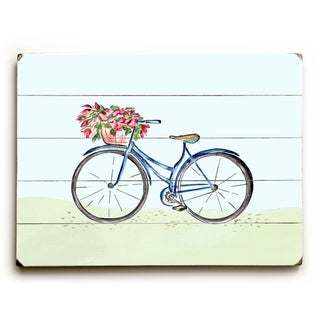 Spring Bicycle -   Planked Wood Wall Decor by Jennifer Rizzo Design