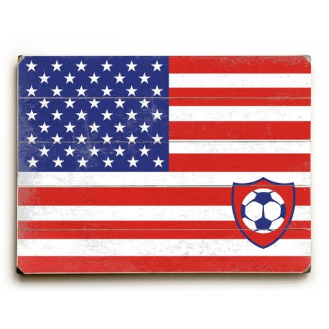 US Flag with Soccer Ball - Planked Wood Wall Decor by Peter Horjus