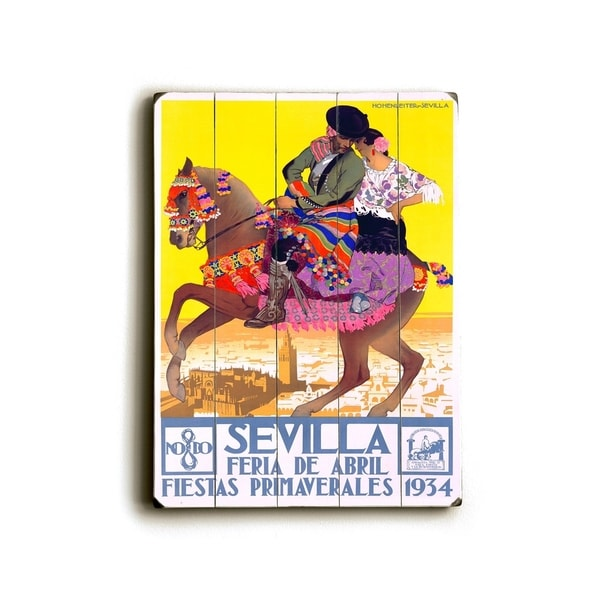 1934 Sevilla Fiesta Print - Planked Wood Wall Decor by Posters Please. Opens flyout.
