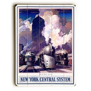 New York Central Train System Poster -   Planked Wood Wall Decor by Posters Please