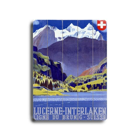 Swiss Alps Lucerne Travel Poster - Planked Wood Wall Decor by Posters Please