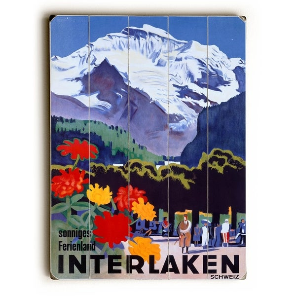 Swiss Alps Interlaken Travel Poster - Planked Wood Wall Decor by Posters Please