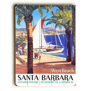 West Beach Santa Barbara Poster -  Planked Wood Wall Decor by Posters Please