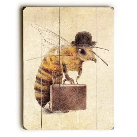 Worker Bee - Planked Wood Wall Decor by Eric Fan