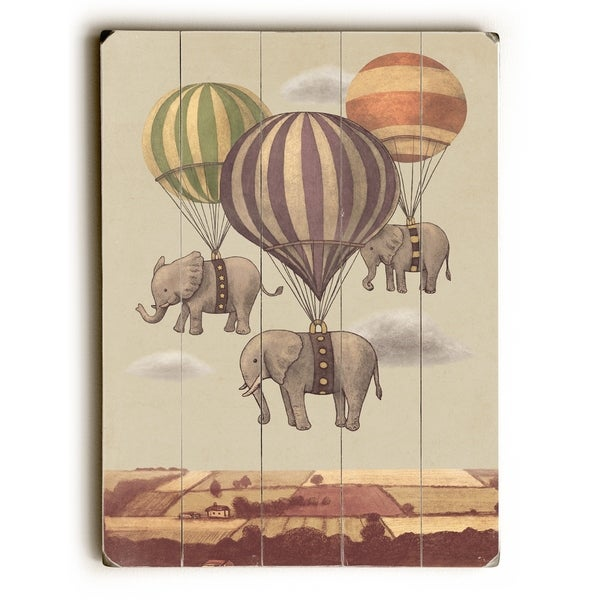 Flight of the Elephants - Multi Planked Wood Wall Decor by Terry Fan