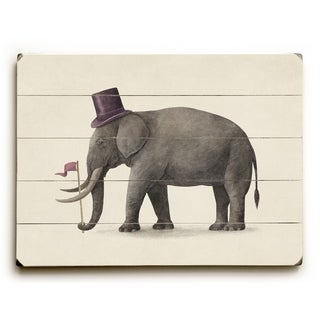 Elephant Day - Multi  Planked Wood Wall Decor by Terry Fan