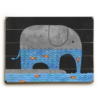 Thirsty Elephant - Multi  Planked Wood Wall Decor by Terry Fan