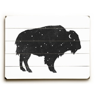 Mystic Buffalo - Black  Planked Wood Wall Decor by Terry Fan