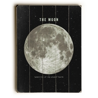 The Moon - Black  Planked Wood Wall Decor by Terry Fan