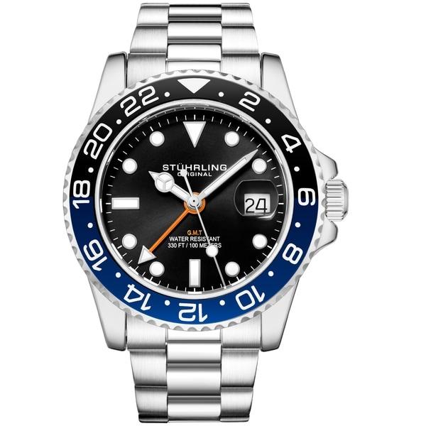 Stuhrling Original Men's GMT Stainless Steel Bracelet Watch. Opens flyout.