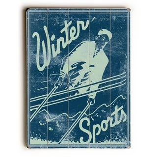 Winter Sports -   Planked Wood Wall Decor by Kate Ward Thacker