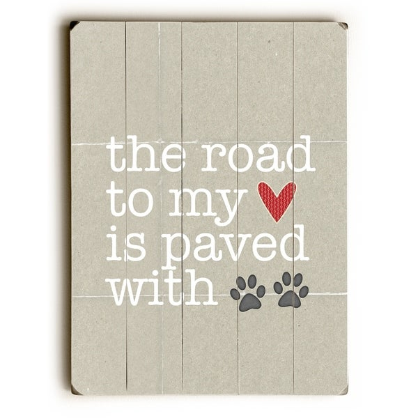 Paved With Pawprints - Tan Planked Wood Wall Decor by