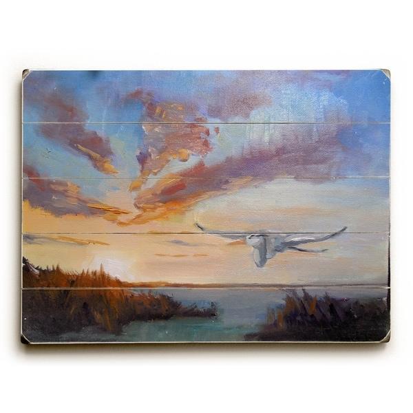 Heron ove Marsh - Planked Wood Wall Decor by Carol Schiff - 12 x 16