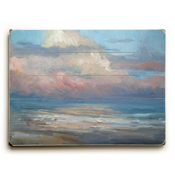 Pink Clouds - Planked Wood Wall Decor by Carol Schiff - 12 x 16