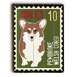 Welsh Corgi Postage Stamp -  Planked Wood Wall Decor by  Ginger Oliphant