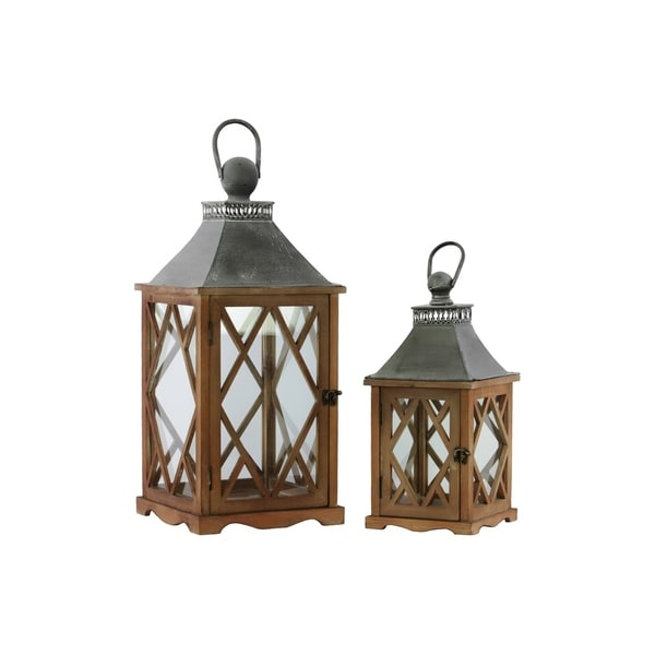 UTC35139 Wood Lantern Natural Galvanized Finish Brown