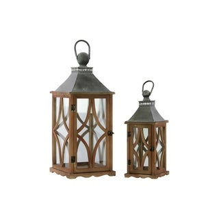 UTC35141 Wood Lantern Natural Galvanized Finish Brown