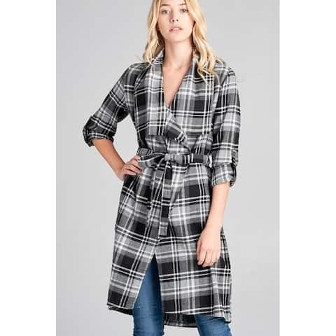 JED Women's Cotton Plaid Wide Collar Wrap Cardigan Jacket