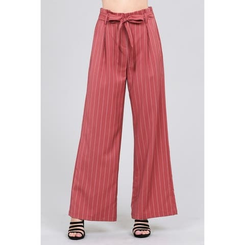 JED Women's Pinstripe High Waisted Wide Leg Woven Pants