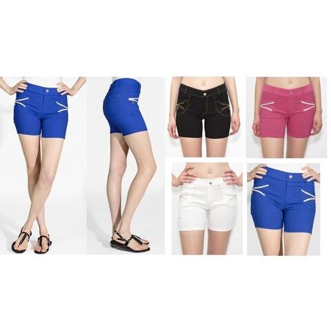 INDERO Women's Super Strech Zip Pocket Shorts