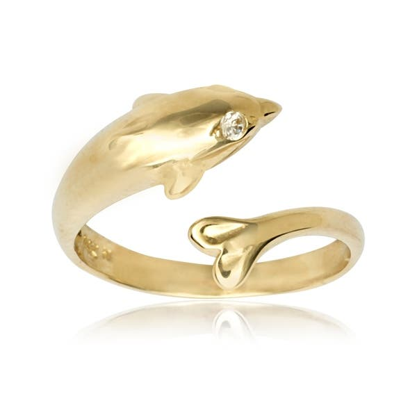 Adjustable Dolphin Toe Ring 14k Solid White Gold