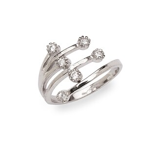 Curata 925 Sterling Silver Bypass Wide Waterfall Cubic Zirconia Adjustable Toe ring - N/A