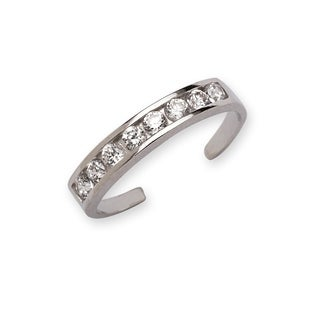 Curata 925 Sterling Silver Polished Channe-set Cubic Zirconia Adjustable Toe ring