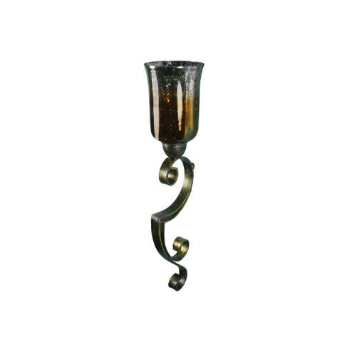 Urban Designs Meera Metal Wall Sconce Candle Holder with Glass Shade