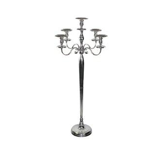 Urban Designs Alissa 5-Arm Pillar Candelabra Floor Candle Holder - Silver